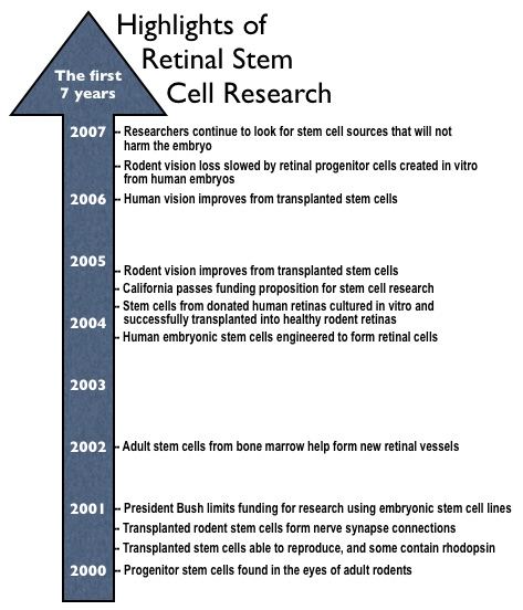 Timeline of highlights of retinal stem cell research since the year 2000, as described in the text.